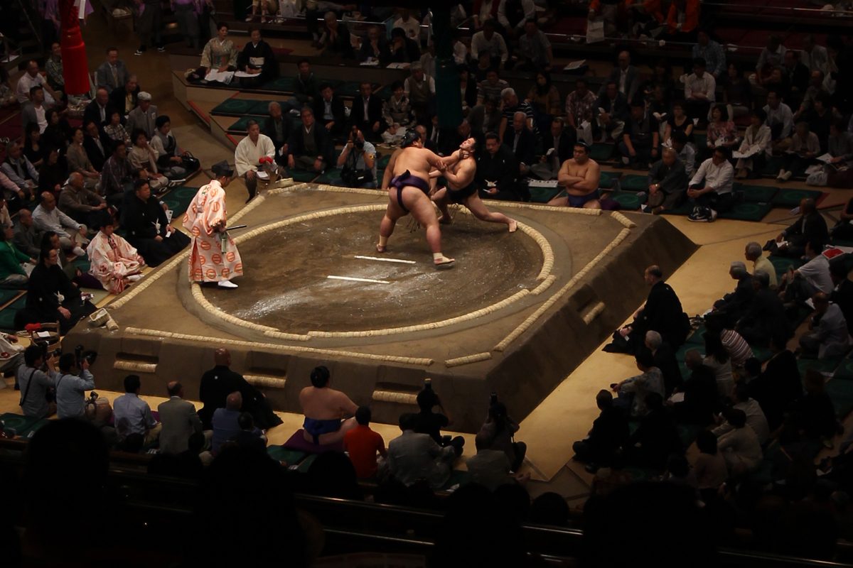 wrestlers at Sumo match Tokyo