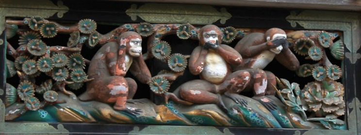 3 monkeys budhism Japan Nikko Toshogu Shinto Shrine