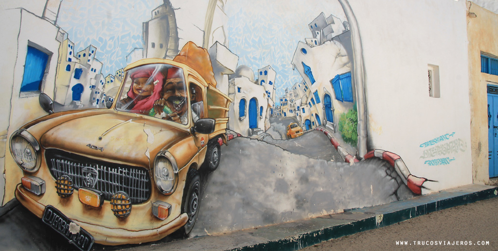 Tunisia car graffiti Nilko France writer