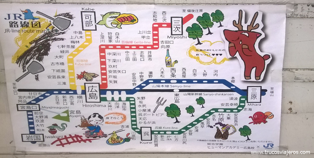touristic map Japan Rail Hiroshima Miyajima
